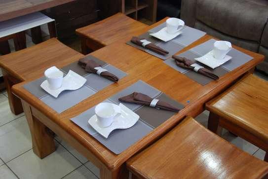 Mahogany Coffee Table with Stools image 2