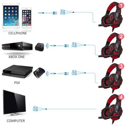Plextone Gaming Headset for PS4 X Box PC GAMING  Noise Isolation Gaming Headphones  With hd mic and led - Black and red) image 2