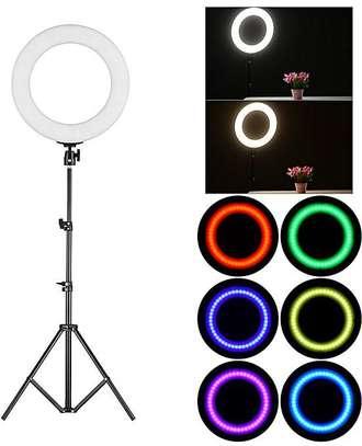Multiple Mode LED Ring Light On Tripod - 14 Inch image 1