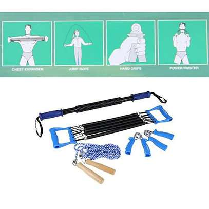 4-Way Training Workout Set with Chest Expander/Tummy Trimmer/Hand Grip & Skipping Rope image 2