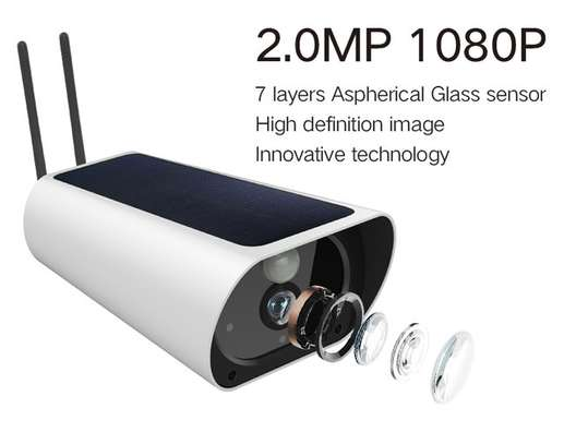 Wireless Outdoors Solar Powered Cctv WiFi Bullet 1080P image 6