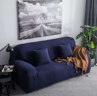 Blue plain sofa covers image 1