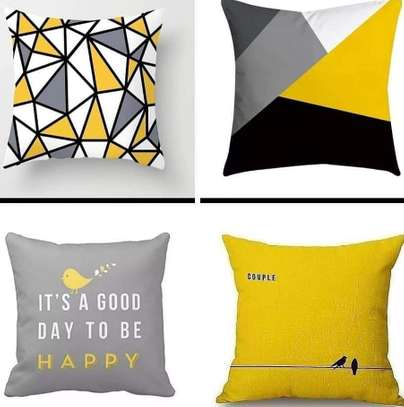 Throw pillows black and yellow combination image 1