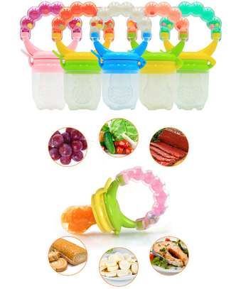Silicone Baby Fruit Feeder Pacifier with Teething Rattle Toy image 5