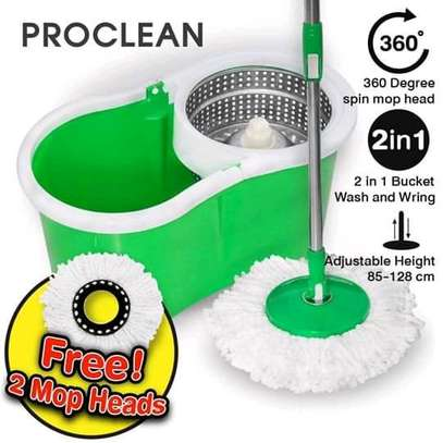 Spin mop with metallic spinner image 1