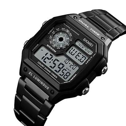 Watches Men Skmei 1335 Stainless Steel Chronograph Dual Time Luminous Digital Mens Wrist Watch