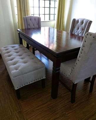 Stylish Modern Functional 6 Seater(4 seater+Bench) Dining Set image 1