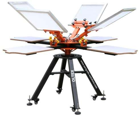 6 color 6 station screen printing machine image 1