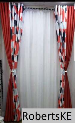 printed orange curtain image 1