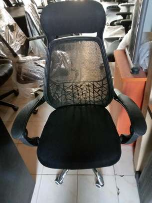 office chair orthopedic black with head rest image 1