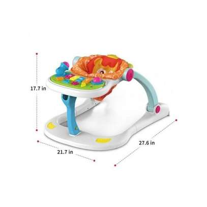 multifunctional musical lion four in one baby walker- white image 4