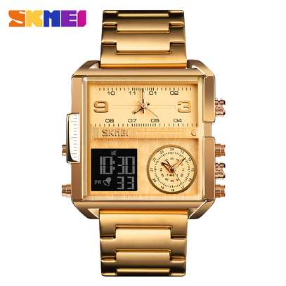 Skmei 1584 Multiple Time Zone Watch Analog Digital Chronograph Men's Wristwatch