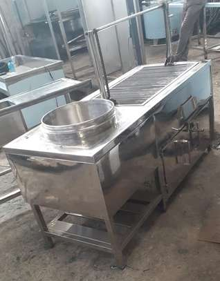 Charcoal choma grill with oven & soup boiler