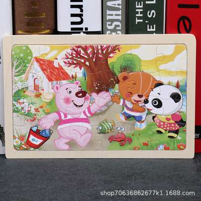 4PCS/3D Wooden Jigsaw Puzzles for Children Kids Toys Cartoon Animal/Traffic Puzzles Baby Educational Puzles image 14