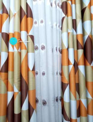 brown patterned curtains image 1