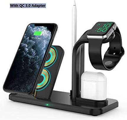4 in 1 Qi Wireless Charger Charging Holder Stand for Apple iPhones,airpods,iPencil and iwatches 1,2,3,4,5 image 3