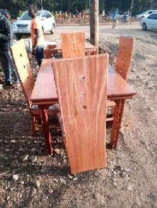 4 Seater mahogany dining table image 1
