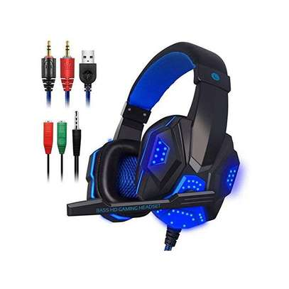 Gaming Headset with Mic and LED Light for Laptop Computer, Cellphone, PS4 ,3.5mm Wired Volume Control image 1