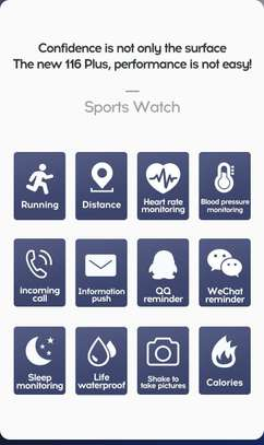 116 Plus Smart Watch Wristband Sports Fitness Blood Pressure Heart Rate Call Message Reminder Android Pedometer D13 Smart Watch image 4
