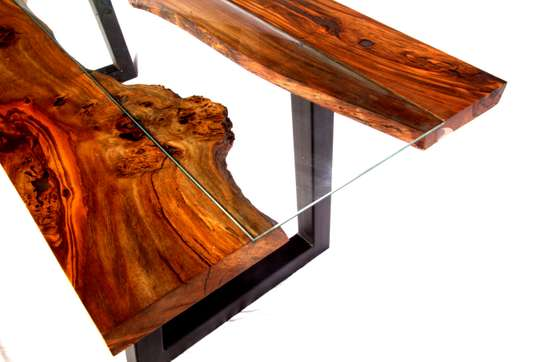 Table: Unique live edge table with toughened glass centre and modern steel legs image 4