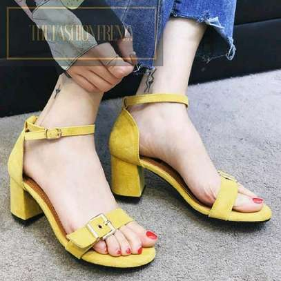 Yellow Low Chunky heels