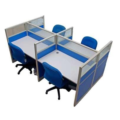 4 Way Aluminum  Workstation Office Desks image 1