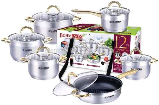 12pcs Stainless Steel Cooking Pots image 1
