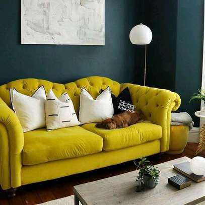 Yellow seats/velvet sofas/tufted three seater sofa image 1