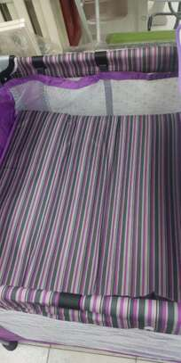 Baby Playpen Baby Crib Baby Bed with Changing Table - Purple image 2