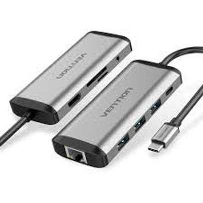 VENTION TYPE C TO MULTI-FUNCTION 6 IN 1 DOCKING STATION  TYPE C TO USB 3.0 (3 PORTS) + VGA + HDMI + TYPE C PD image 1