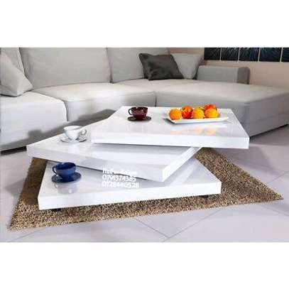 White rotating coffee table/revolving tables image 1