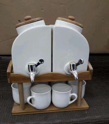 Tea pots, 6 cups and bamboo stand image 1
