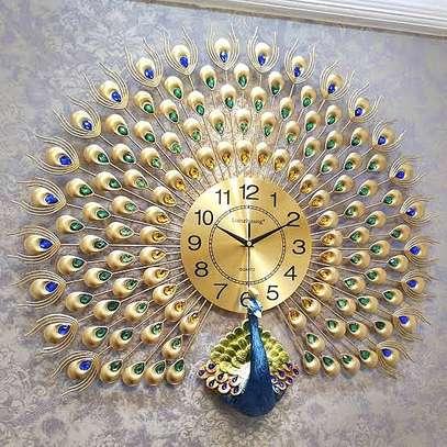 Round peacock clock image 1
