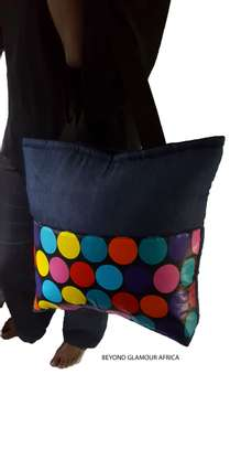 Blue Multi color polka Denim Ankara Handbag image 1