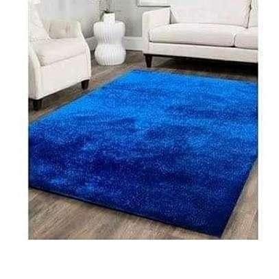 Blue fluffy carpet image 1
