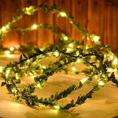 Warm White Tiny Green Leaf Garland Holiday Wire Fairy String Lights Christmas image 1