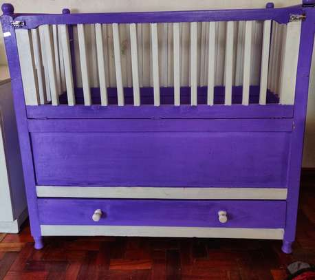 Purple and White Baby Cot image 1