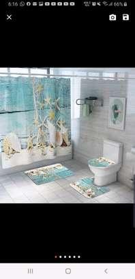 Bathroom curtain mat sets image 4