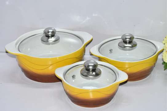 3pcs set Ceramic serving dishes with glass cover image 6
