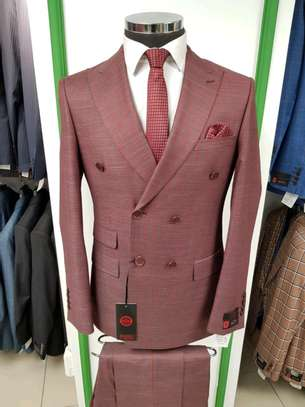 Brown beige checked double-breasted formal wear image 2