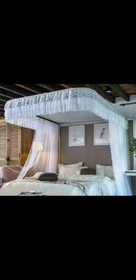 Rail mosquito net 6 by 6 white image 1