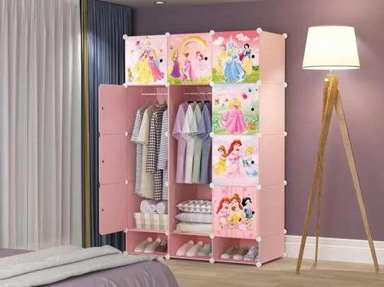 pink kids themed plastic wardrobe image 1
