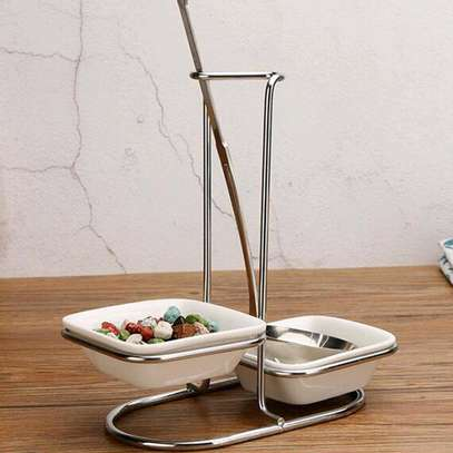 *Fancy 2in1Laddle holder with ceramic bowl holders image 1