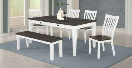 Dining table in white and grey top image 1