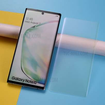 UV Light adhesive tempered glass screen protector for Samsung Galaxy Note 10,Note 10 Plus + LED Kit image 2