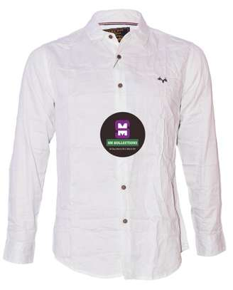 White Long Sleeved Slim Fir Shirt With Checked Pockets