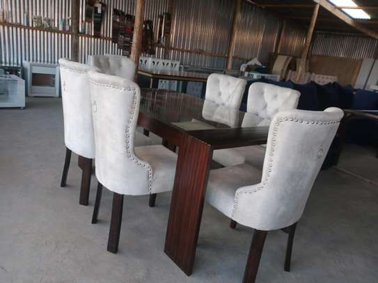 Modern six seater glass dining table for sale in Nairobi Kenya/Best Furniture shops in Nairobi Kenya/Glass dining table set for sale in Nairobi Kenya image 2