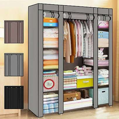 3 COLUMN SOLID WOOD PORTABLE WARDROBE image 2