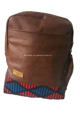 Brown Leather Backpack Travel  and Laptop Bag image 1