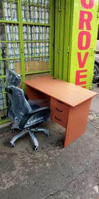 An office desk plus adjustable headrest office chair in black image 1